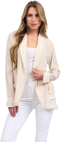 Gold Hawk Shawl Collar Jacket in Wheat/Pure White