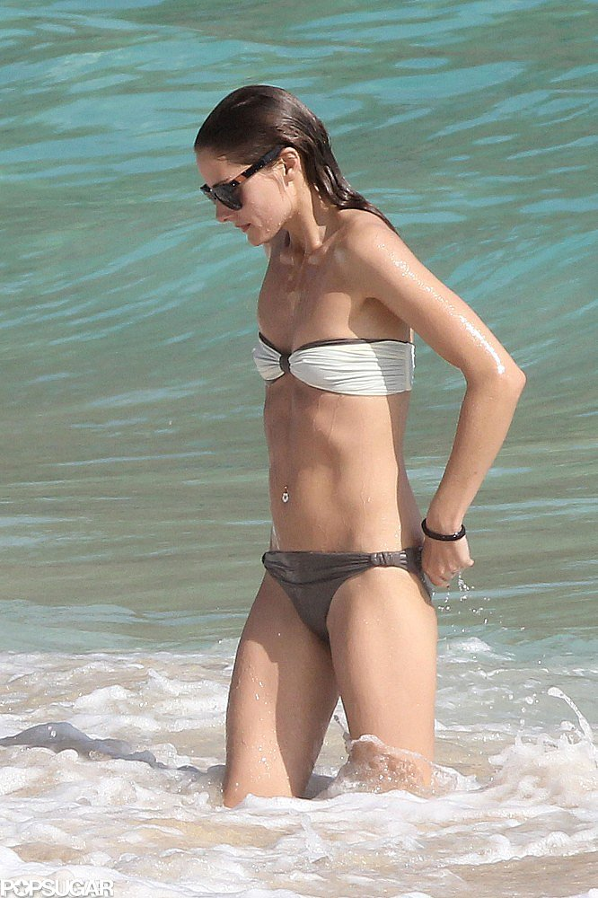 Olivia Palermo hit the water in St. Barts wearing a mismatched bandeau bikini.