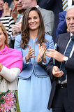 Pippa Middleton got her blue on in a Sandro dress and matching collarless jacket at the 2013 Wimbledon tournament in London.