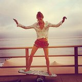 Alessandra Ambrosio hopped on a mini surfboard to show off her skills during a late Malibu beach day in June.  Source: Instagram user alessandraambrosio