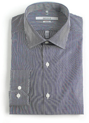 PERRY ELLIS Striped Slim-Fit Cotton Dress Shirt