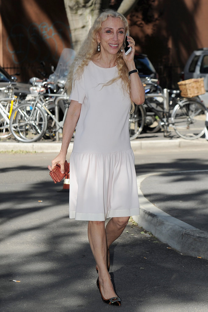 Franca Sozzani at the Giorgio Armani menswear Spring 2014 runway show in Milan.