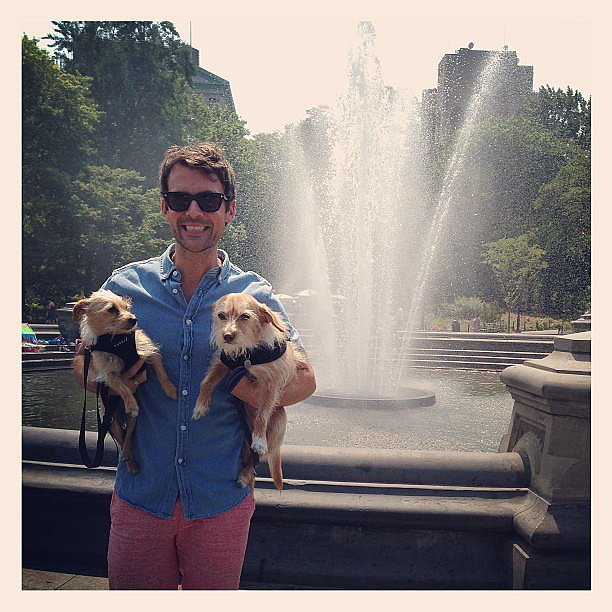 Brad Goreski cooled off in Washington Square Park with his pups.  Source: Instagram user mrbradgoreski