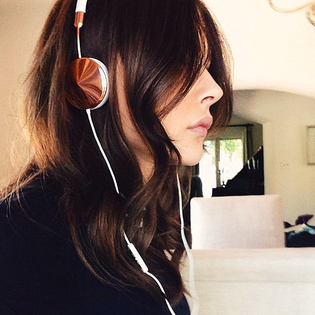 Chloë Moretz gave us a glimpse of her awesome new Frends headphones and chic brunette hair color. Source: Instagram user cmoretz