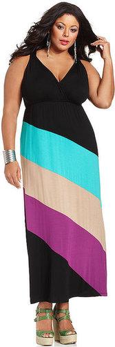 Spense Plus Size Dress, Sleeveless Diagonal-Stripe Maxi