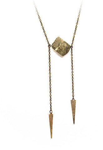 Crow Jane Chunky Pyrite Cube Necklace