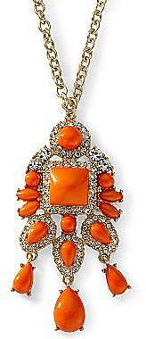 Long Orange Pendant Necklace