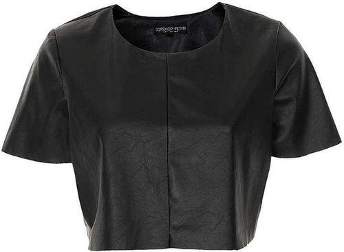 Petite Leather Look Crop Top