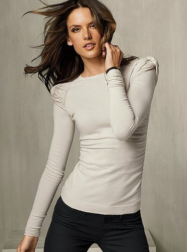 Ruched Cotton Crewneck Sweater