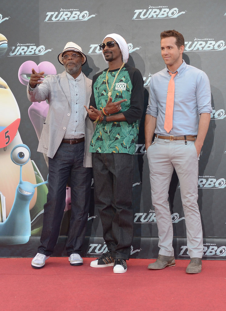 Ryan Reynolds attended the premiere of Turbo in Spain alongside Snoop Lion and Samuel L. Jackson.