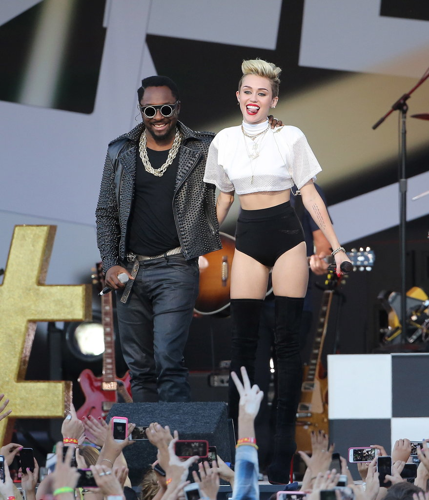 Miley Cyrus was joined on the stage by Will.i.am.