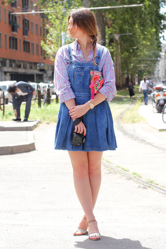 Tomboy overalls got a feminine twist with glittery ankle straps.