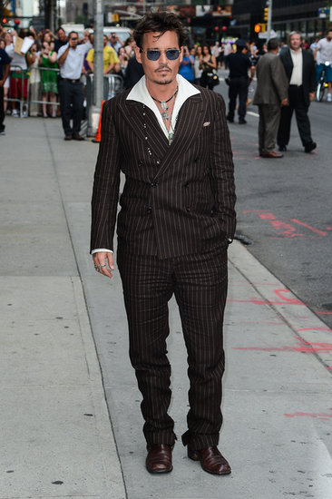 Johnny Depp wore a suit in NYC.