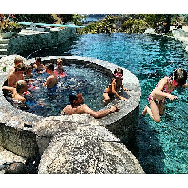 Tony Hawk's family played around in his impressive pool. Source: Instagram user tonyhawk