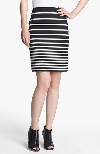 Halston Heritage Stripe Knit Pencil Skirt