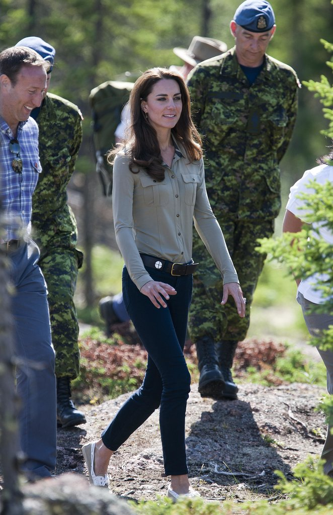 Kate Middleton donned jeans during a stop by Blachford Lake in Canada in July 2011.