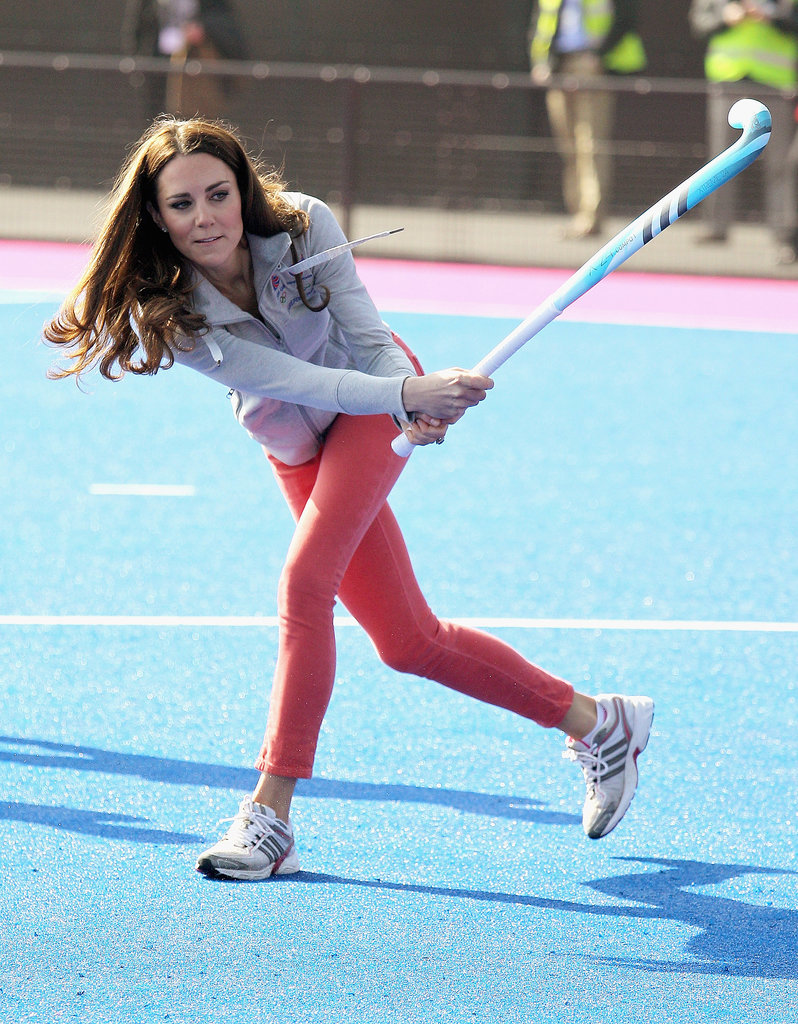Kate Middleton put her athletic prowess on display when she played a game of hockey during a visit to the Olympic Park in March 2012.