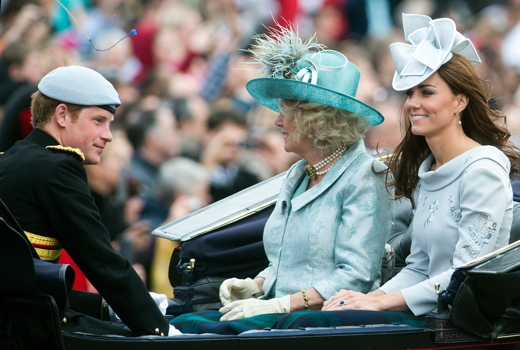 Kate Middleton sat with Prince Harry and Camilla, Duchess of Cornwall, while riding with the June 2012 Trooping the Colour parade in London.