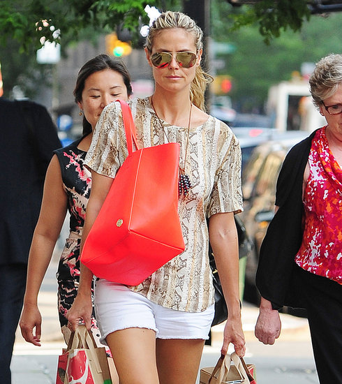 For a day out shopping, Heidi Klum chose on-trend mirrored aviators. Flash a similar pair like these Ray-Bans ($160).