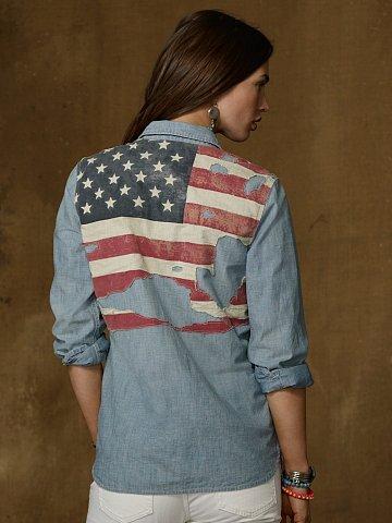 Denim & Supply Distressed Flag Shirt
