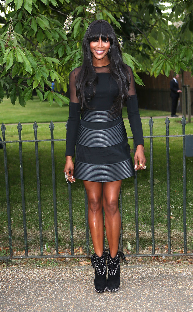 Naomi Campbell looked chic in all black.