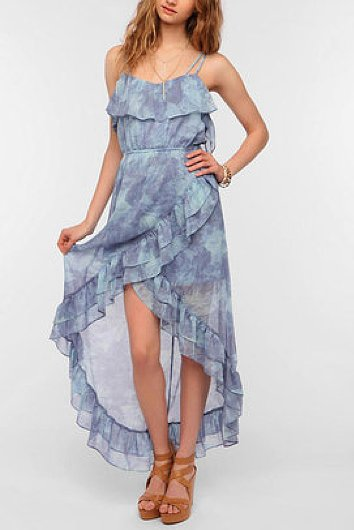 We love the romantic-meets-cool-girl feel of this Ecote Tulip Ruffle Chiffon Maxi Dress ($20).