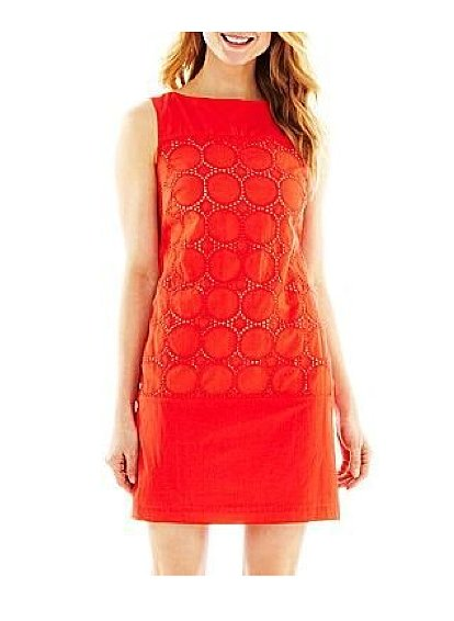Meet your bright little work dress — this Studio 1 Contrast Eyelet Shift Dress ($40) would look fantastic with a white blazer.