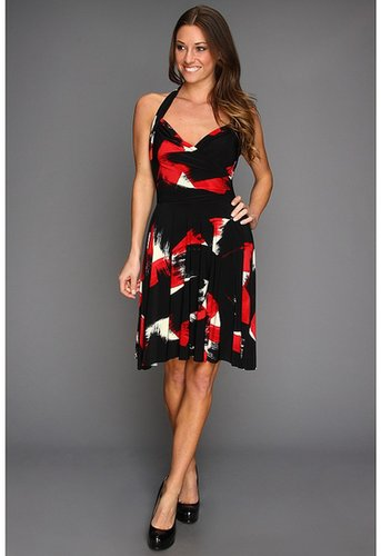 KAMALIKULTURE - Halter Sweetheart Flare Dress (Red Abstract Brushstroke) - Apparel