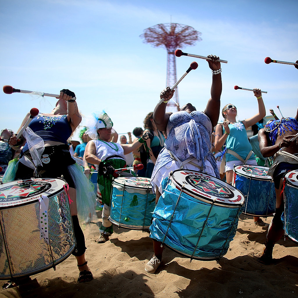 Musicians drew a crowd at Coney Island's Mermaid Parade in Brooklyn.