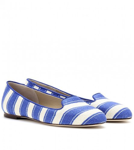 Dolce & Gabbana WALLY STRIPED LINEN SLIPPER-STYLE LOAFERS