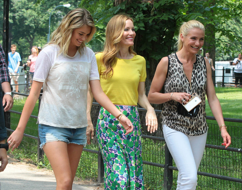 Cameron Diaz, Leslie Mann, and Kate Upton glammed up in NYC on Thursday to film a new scene for The Other Woman.