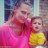 Molly Sims brightened up her picture with her son, Brooks, thanks to her neon top. Source: Instagram user mollybsims