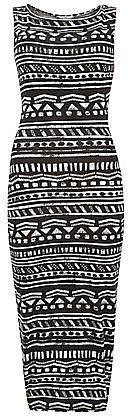 Monochrome Aztec Stripe Sleeveless Midi Dress