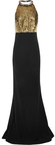Alexander McQueen Embellished stretch-crepe gown