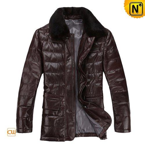Men Leather Down Coat Brown CW871165 - cwmalls.com