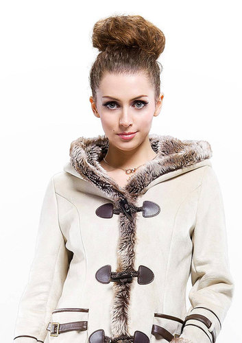 buy fashion beige quality suede with faux wool fur long coat for sale free shipping