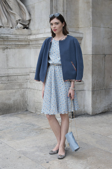 We love the ladylike feel of this sweet look, right down to the printed edge on her jacket.