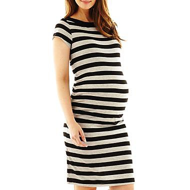 A side-ruched t-shirt dress ($28, originally $35) is a must have for easy, throw-it-on-and-go pregnancy dressing. The ruching means the dress will accommodate a growing belly without hiking up the hemline.
