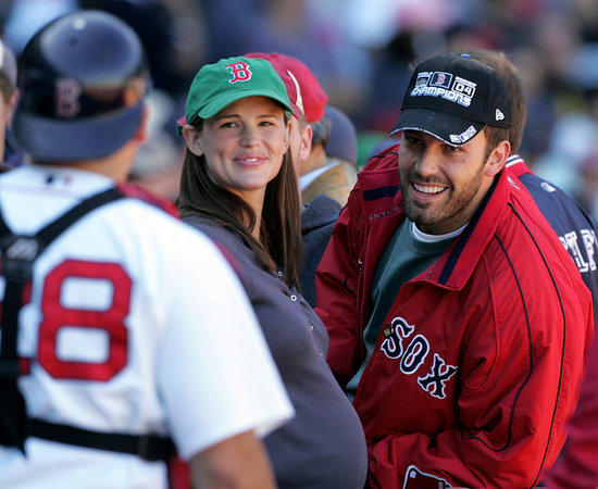 Ben Affleck and Jennifer Garner chatted with a Boston Red Sox player during an October 2005 game in Boston.