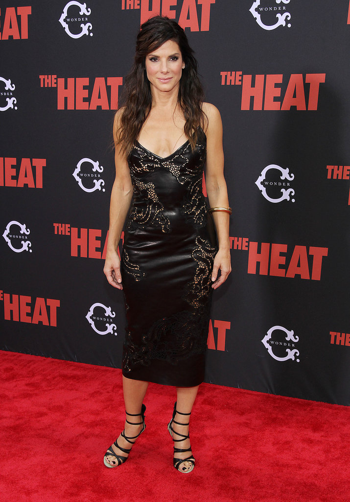 Sandra Bullock brought the heat in a laser-cut leather dress at the film's NYC premiere.