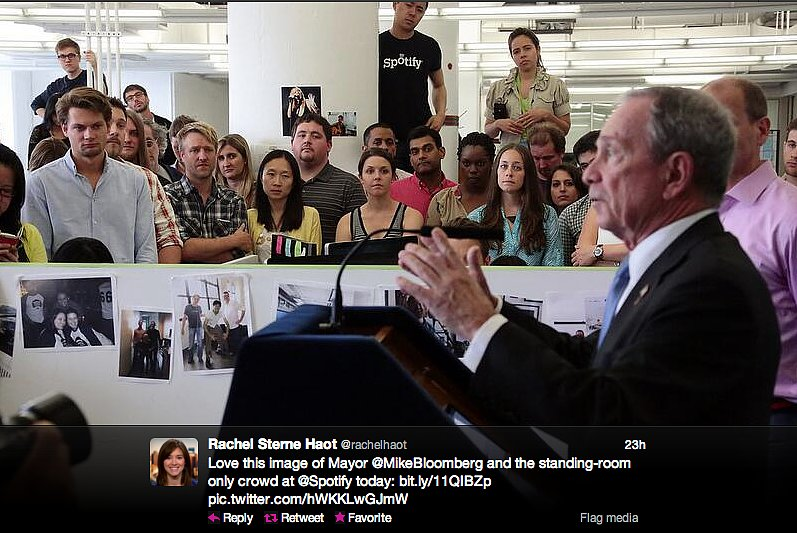 NYC Chief Digital Officer Rachel Haot and Mayor Michael Bloomberg cheer on Spotify for promising to hire 130 more employees by 2013.