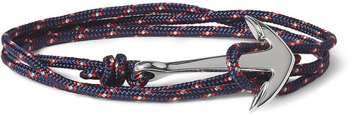 Miansai Woven-Cord and Metal Anchor Wrap Bracelet