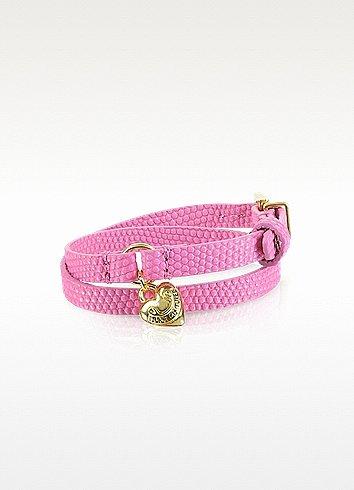 Juicy Couture Double Wrap Pink Leather Bracelet