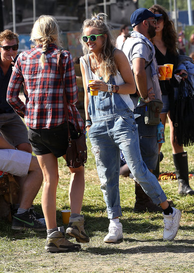 Prince Harry's girlfriend, Cressida Bonas, wore overalls for the festival.