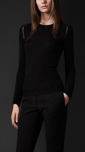 Open-Stitch Cashmere Sweater
