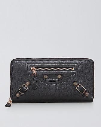Balenciaga Giant Rose Golden Continental Zip Wallet, Black