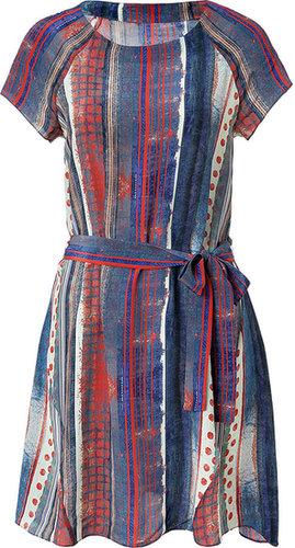 Suno Blue-Multi Striped Silk Dress