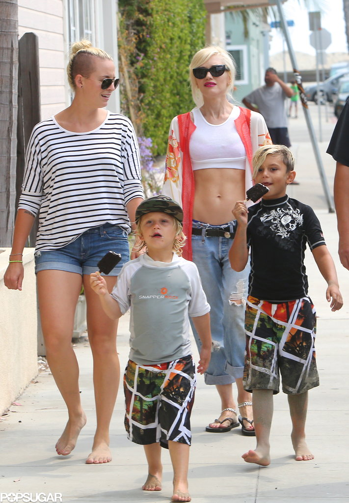 Gwen Stefani hung out in Long Beach, CA, with her sons, Kingston and Zuma.