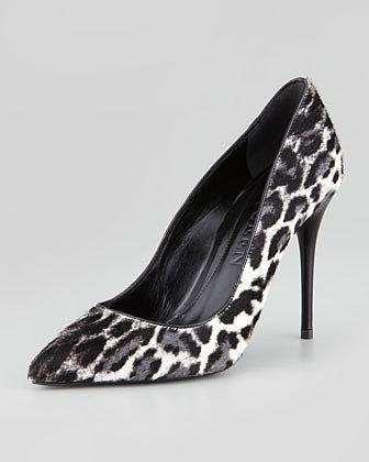 Alexander McQueen Leopard-Print Calf Hair Pump, Black/White