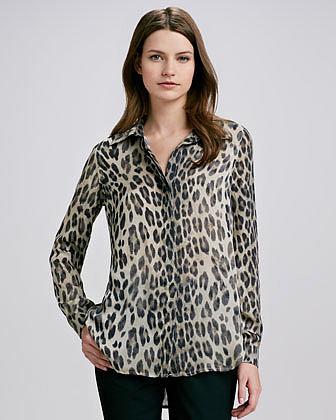 L'Agence Leopard-Print Blouse